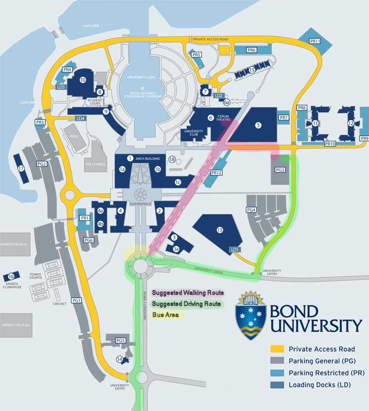 bond map marked with DrivingWalking Route and Bus zone WordCamp